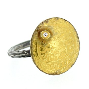 Coin Ring with Diamond Accent