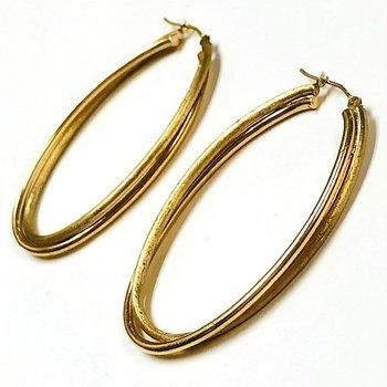 Brushed Gold Oval Drop Hoop Earrings