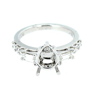 Diamond Ring Mounting for Pear Shape Center