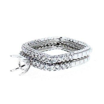 Pave Square Ring Mounting & Band Set