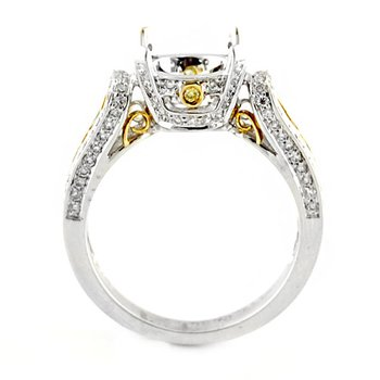 Ornate Two-Tone Diamond Ring Mounting