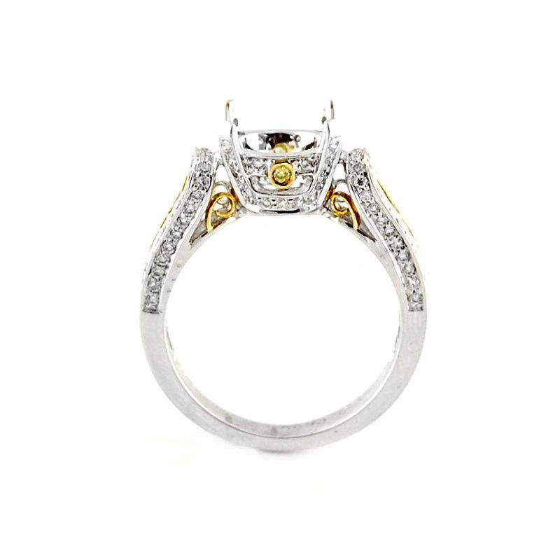 Decor Ornate Two-Tone Diamond Ring Mounting