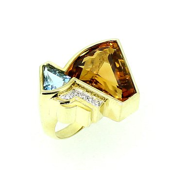 Citrine, Blue Topaz, & Diamond Ring