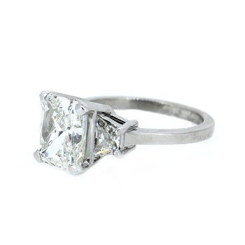 Radiant & Trapezoid Three Stone Diamond Ring in Platinum