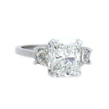 Radiant & Trapezoid Three Stone Diamond Ring in Platinum