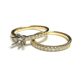 2 Tone Diamond Ring Mounting Set