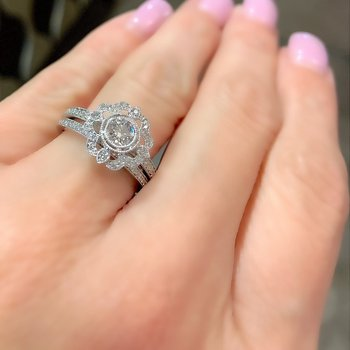 Vintage Inspired Diamond Engagement Ring & Band
