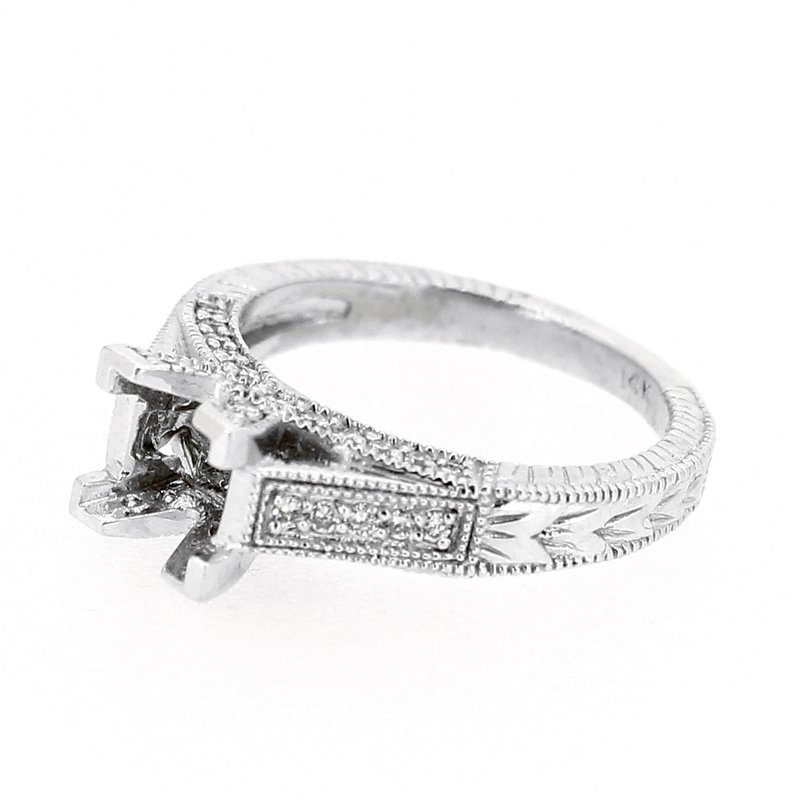 Decor Etched Pave Diamond Ring Mounting