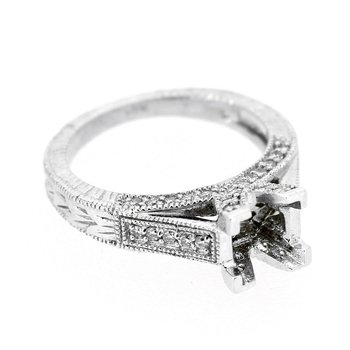 Etched Pave Diamond Ring Mounting