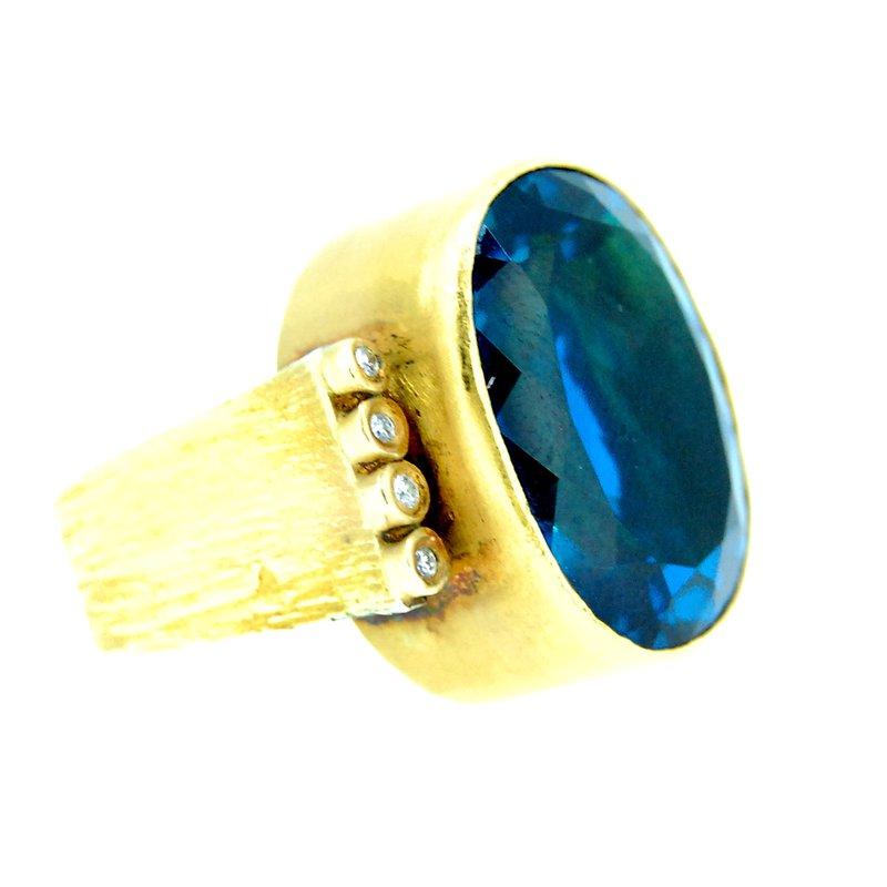 Kurtulan Kurtulan 24kt Gold Blue Topaz Ring