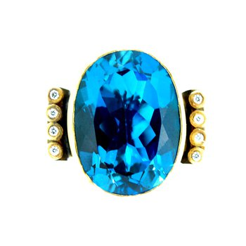 Kurtulan 24kt Gold Blue Topaz Ring