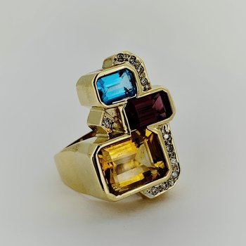 Multi Gemstone & Diamond Ring