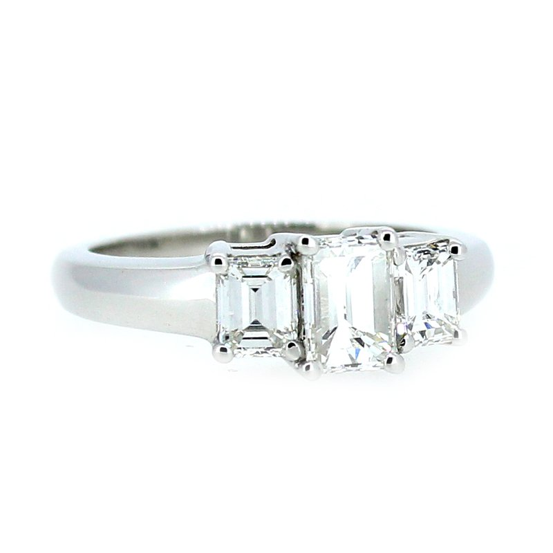 Decor 1.59ctw Platinum Emerald Cut Three Stone Diamond Ring