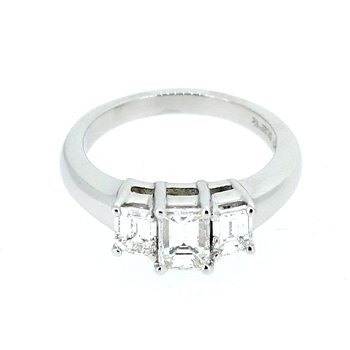 Platinum Emerald Cut Three Stone Diamond Ring