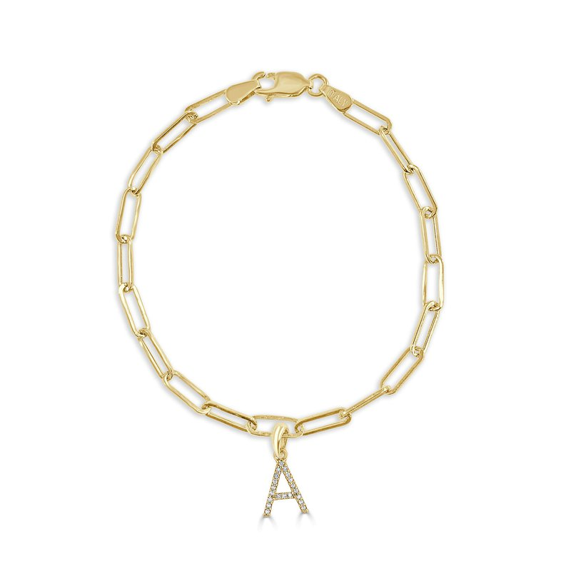 "Sabrina Link Bracelet with Diamond ""A"" Charm"