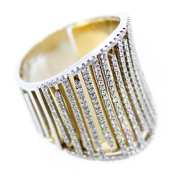 Bold Two Tone Gold & Diamond Ring