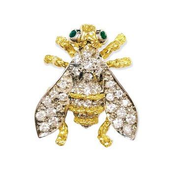 Diamond & Emerald Accent Bee Pin