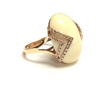 Bone and Diamond Ring