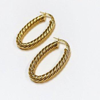 Fluted Twist Oval Hoop Earrings