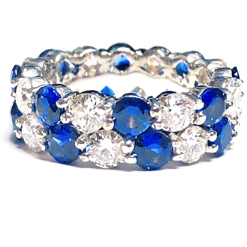 Decor Sapphire and Diamond Eternity Band