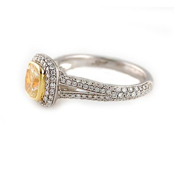 Fancy Yellow Cushion Cut Halo Diamond Ring
