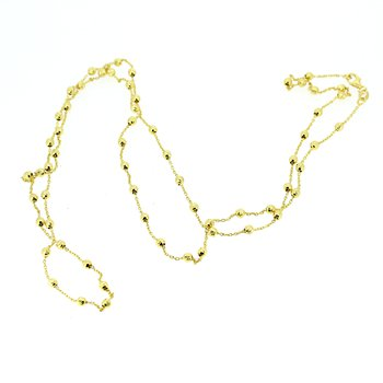 Long Beaded Yellow Gold Necklace