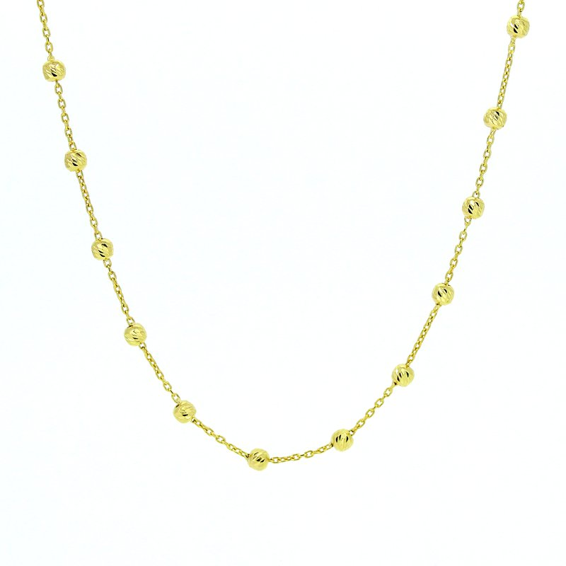 Decor Long Beaded Yellow Gold Necklace