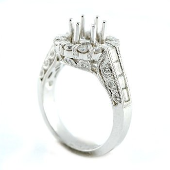Exquisite Halo Diamond Engagement Ring Mounting