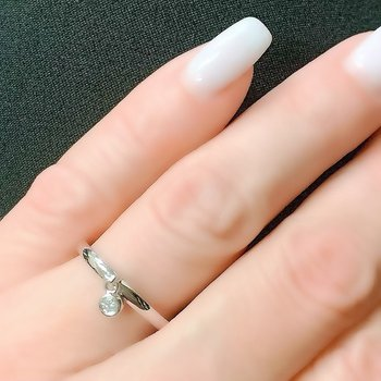 Bezel Set Diamond Dangle Ring
