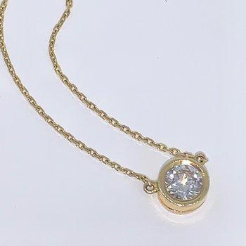 Bezel Diamond Solitaire Necklace