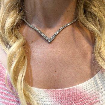 "20.09ctw Diamond ""V"" Shaped Tennis Necklace"