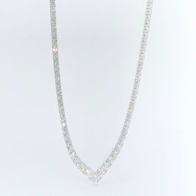 "Decor 20.09ctw Diamond ""V"" Shaped Tennis Necklace"