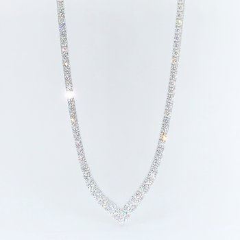 "20.09ctw Diamond ""V"" Shaped Tennis Necklace"
