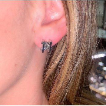 Bar Set Diamond Stud Earrings