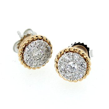 Diamond Cluster Stud Earrings w/Rose Gold