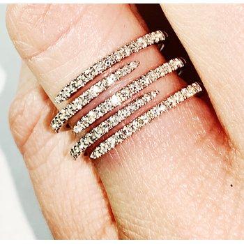 Open Diamond Multi-Row Ring