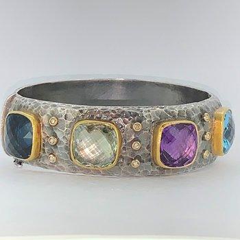 Hammered Gemstone Bangle Bracelet