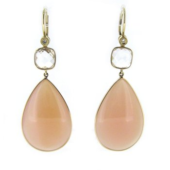 Pink Topaz Teardrop Dangle Earrings
