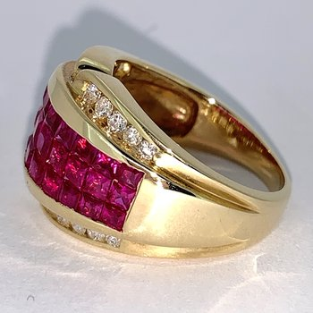 Invisible Set Ruby and Diamond Band