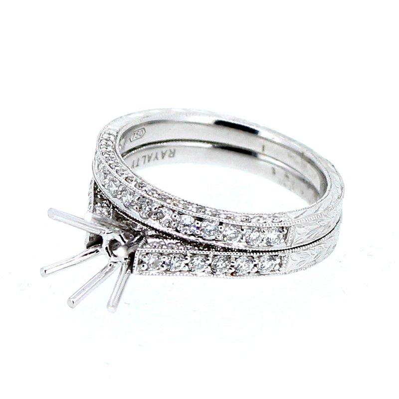 Decor Pave Diamond Engraved Mounting & Wedding Band