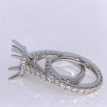 Emerald Cut Diamond Ring Mounting Set