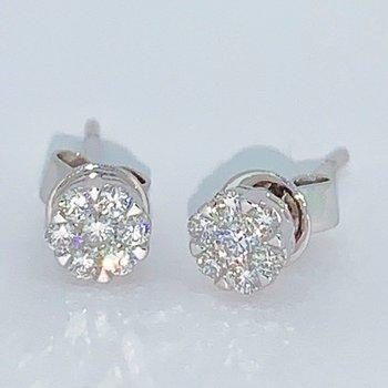 Diamond Stud Cluster Earrings