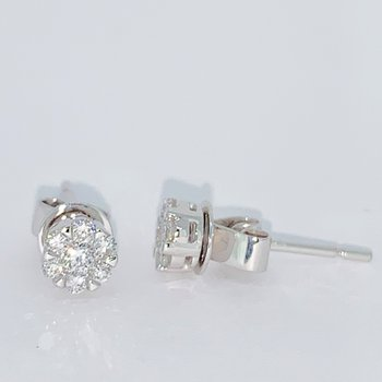 Diamond Stud Cluster Earrings