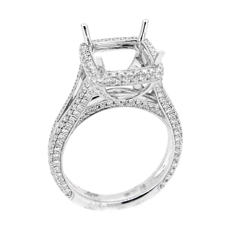 Decor Halo Pave Diamond Ring Mounting