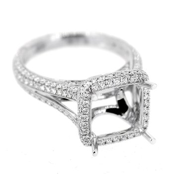Halo Pave Diamond Ring Mounting