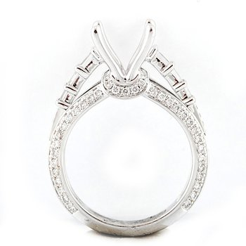 Round and Baguette Cut Diamond Mounting