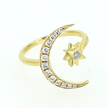 Diamond Crescent Moon & Star Ring
