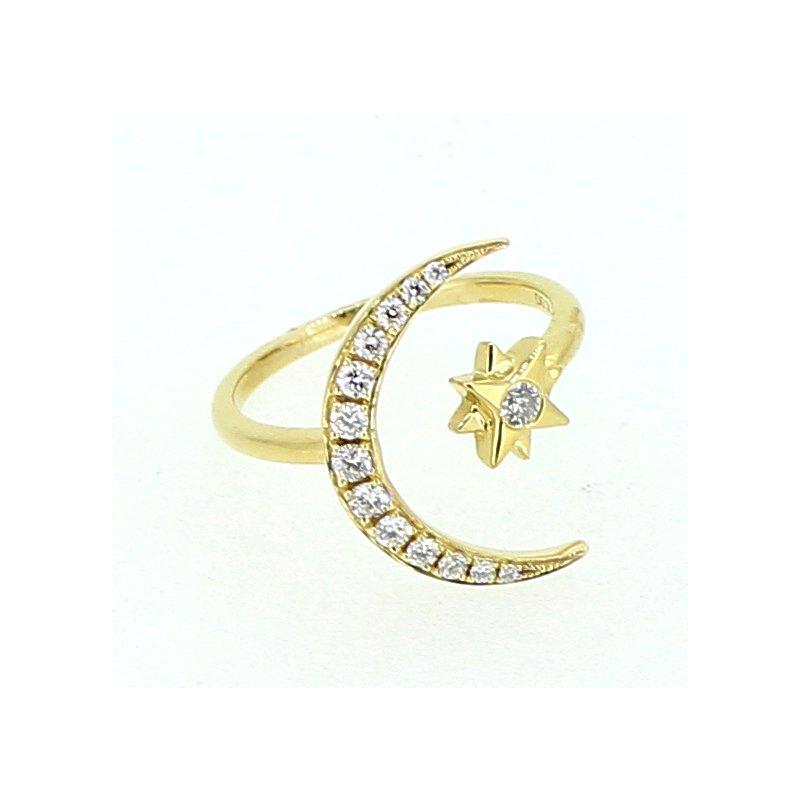 Decor Diamond Crescent Moon & Star Ring