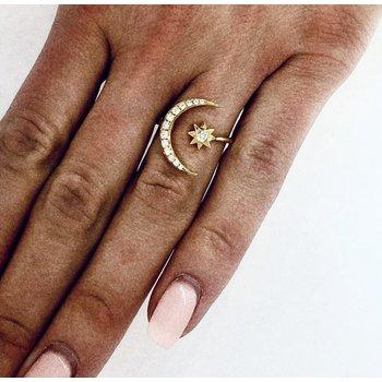 Diamond Crescent Moon & Star Ring