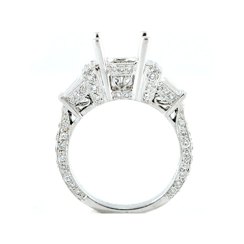 Decor Baguette and Round Diamond Ring Mounting
